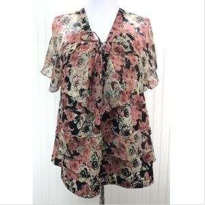 Lucky Brand Blouse Large Floral Tiered Pink V-Neck